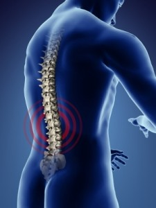 Human back in pulsating pain